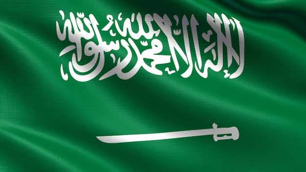 Bandeira da arábia saudita, com textura de tecido acenando