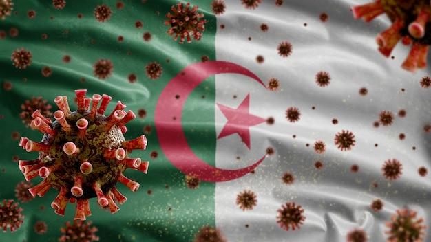 Bandeira da argélia acenando com o vírus do microscópio coronavírus Foto Premium