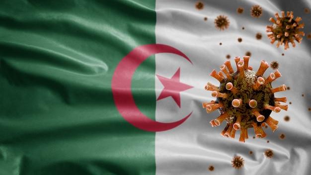 Bandeira da argélia e vírus do microscópio coronavírus Foto Premium
