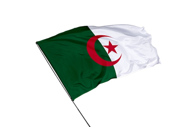 Bandeira da argélia em um fundo branco