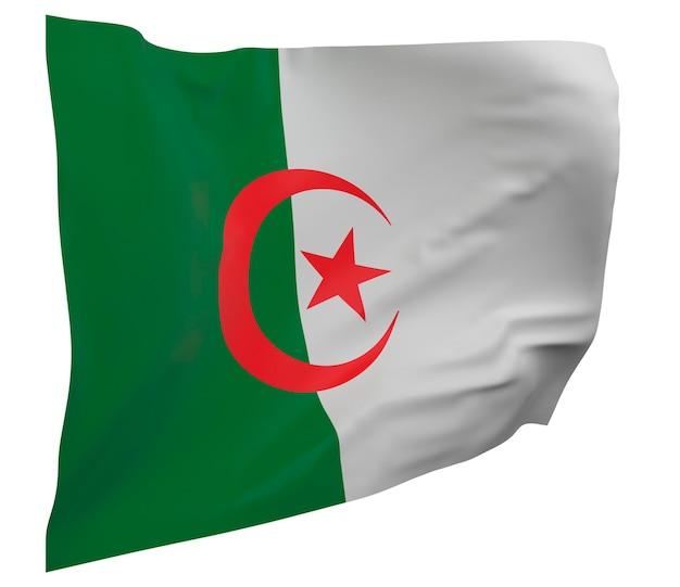 Bandeira da argélia isolada. bandeira ondulante. bandeira nacional da argélia