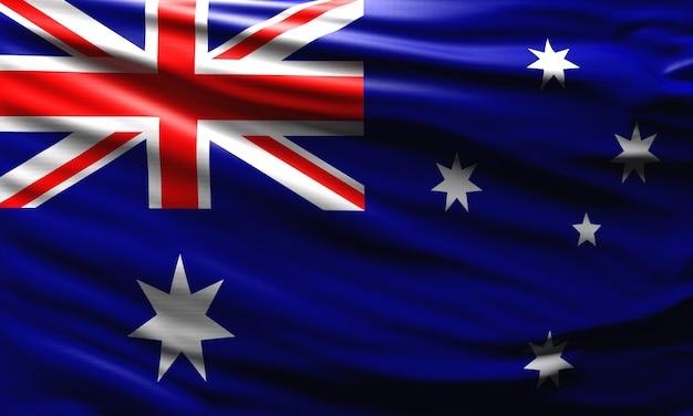 Bandeira da austrália balançando ao vento símbolo nacional do país australiano