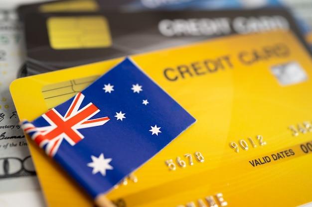 Bandeira da austrália no cartão de crédito desenvolvimento financeiro estatísticas de contas bancárias investimento