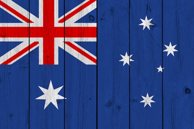Bandeira da austrália pintada na prancha de madeira velha