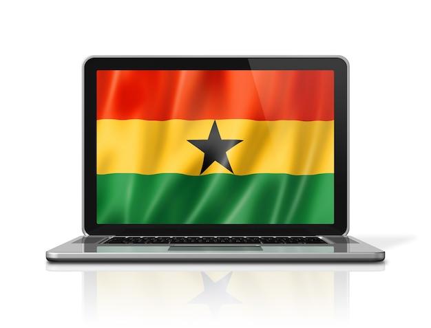 Bandeira da bandeira de gana na tela do laptop isolada no branco. ilustração 3d