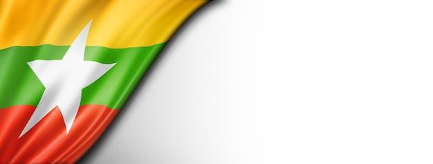 Bandeira da birmânia mianmar isolada no branco. banner panorâmico horizontal.