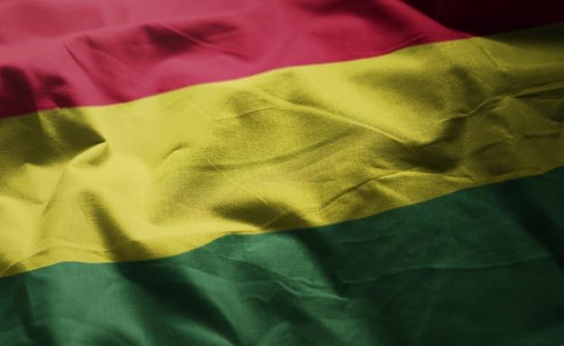 Bandeira da bolívia amarrotada close up