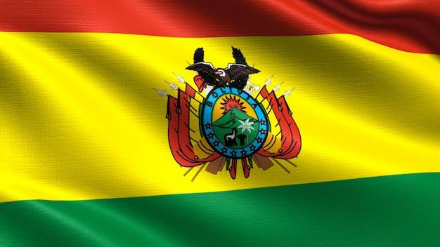 Bandeira da bolívia, com textura de tecido a acenar