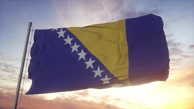 Bandeira da bósnia e herzegovina balançando ao vento, o céu e o sol de fundo. renderização 3d.