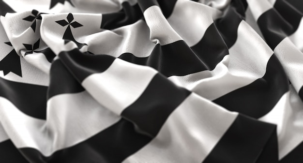 Bandeira da bretanha ruffled beautifully waving macro close-up shot