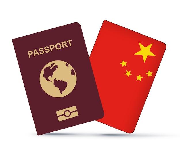 Bandeira da china com passaporte