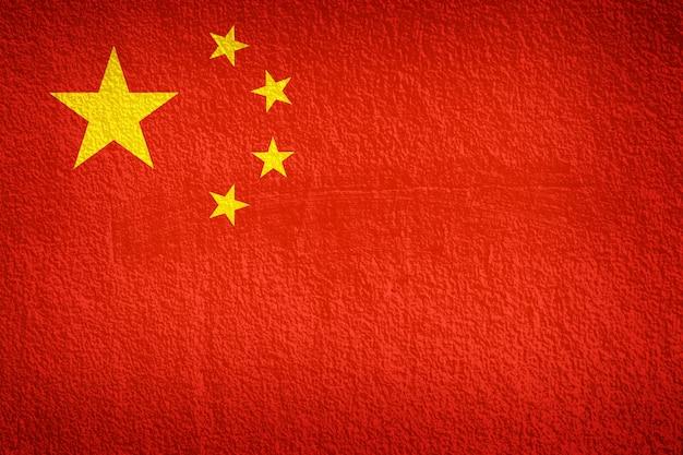 Bandeira da china na textura da parede