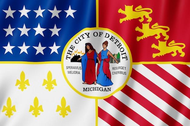 Bandeira da cidade de detroit, michigan (eua)