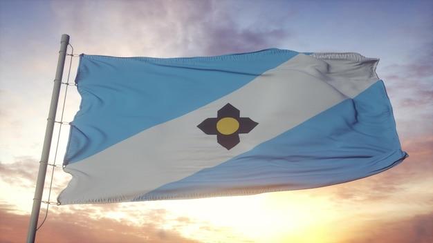 Bandeira da cidade de madison, wisconsin, balançando ao vento, o céu e o sol de fundo. renderização 3d.
