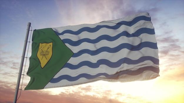 Bandeira da cidade de vancouver balançando ao vento, o céu e o sol de fundo. renderização 3d.