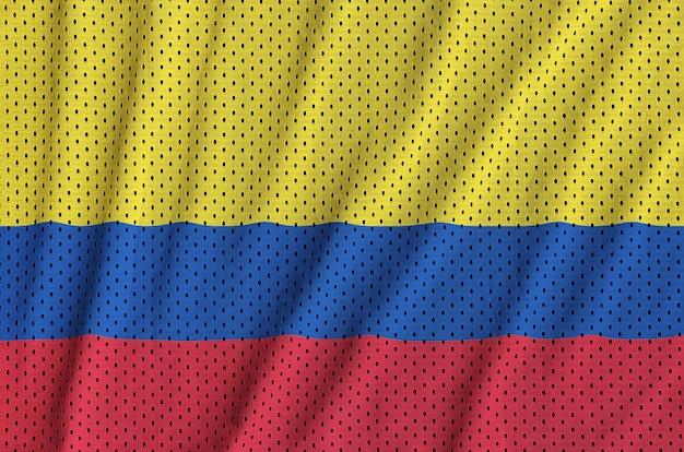 Bandeira da colômbia impressa em um tecido de malha de nylon para sportswear de poliéster