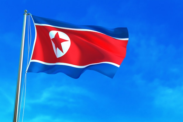 Bandeira da coreia do norte no fundo do céu azul