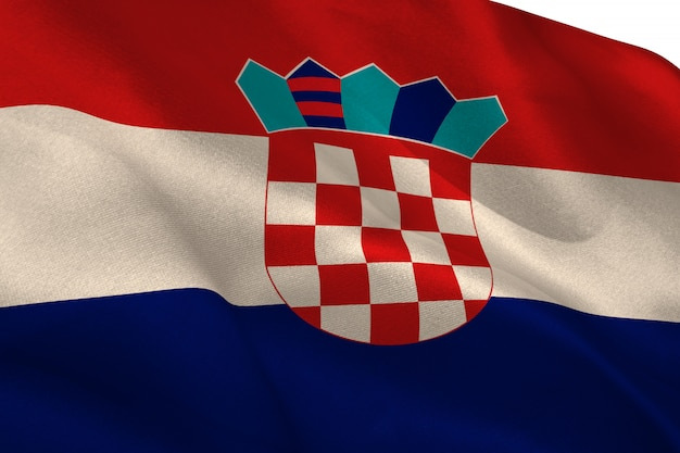 Bandeira da croácia acenando