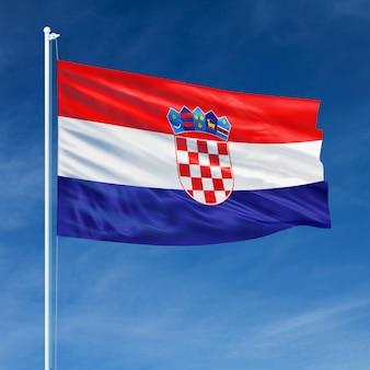 Bandeira da croácia voando