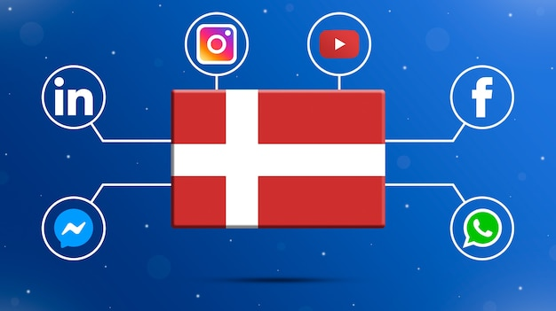 Bandeira da dinamarca com logotipos de mídia social 3d