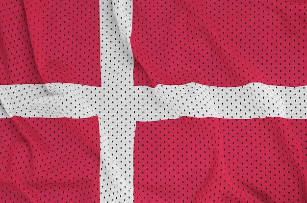 Bandeira da dinamarca impressa em um tecido de malha de nylon para sportswear de poliéster