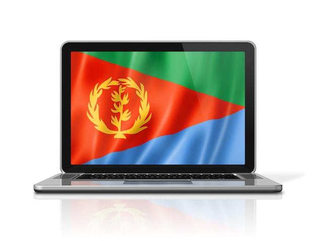 Bandeira da eritreia na tela do laptop isolada no branco. ilustração 3d render.