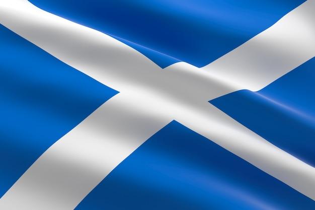 Bandeira da escócia. ilustração 3d da bandeira escocesa acenando