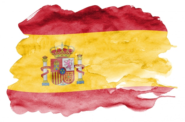 Bandeira da espanha é retratada no estilo aquarela líquido isolado no branco