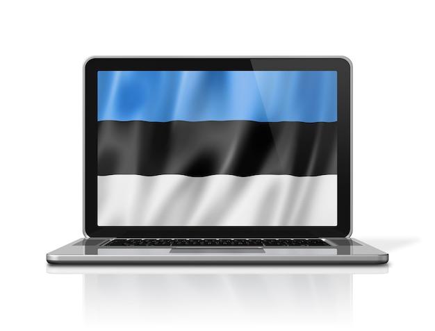 Bandeira da estônia na tela do laptop isolada no branco. ilustração 3d render.