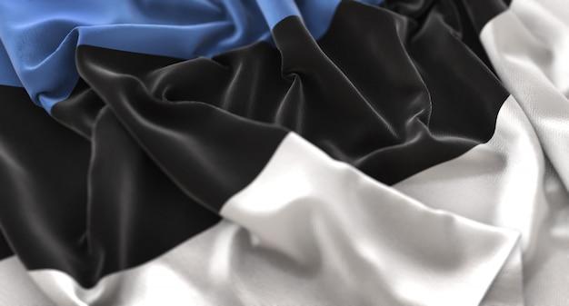 Bandeira da estónia ruffled beautifully waving macro close-up shot