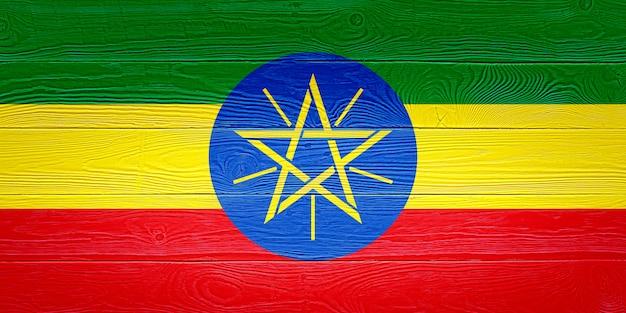 Bandeira da etiópia, pintada em pranchas de madeira