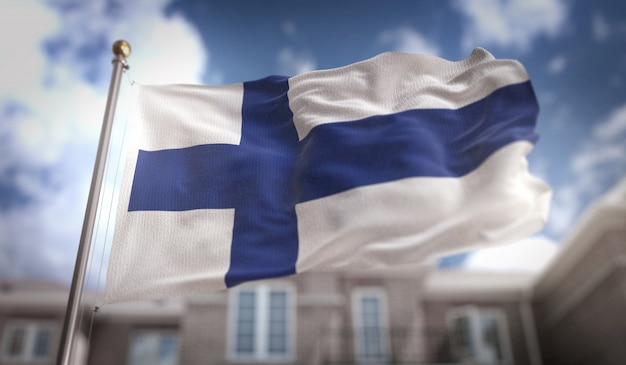 Bandeira da finlândia 3d rendering no fundo do edifício do céu azul