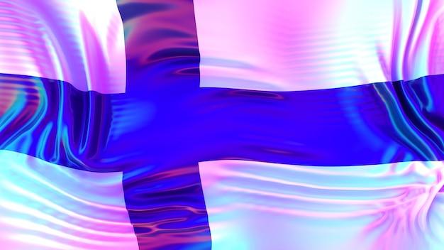 Bandeira da finlândia com reflexos do arco-íris lgbt.