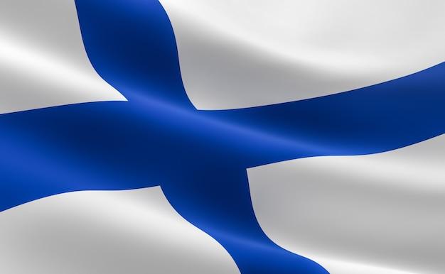 Bandeira da finlândia. ilustração 3d da bandeira finlandesa que acena.