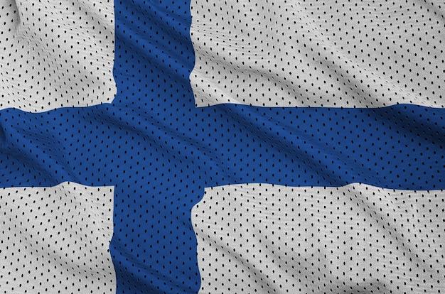 Bandeira da finlândia impressa em um tecido de malha de nylon sportswear de poliéster