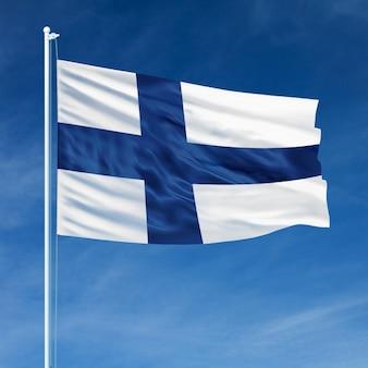 Bandeira da finlândia voando