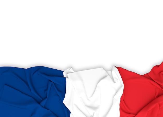 Bandeira da frança em fundo branco com traçado de recorte