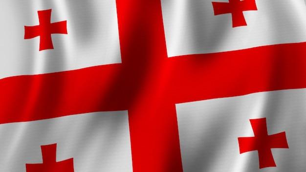 Bandeira da geórgia acenando closeup renderização 3d com imagem de alta qualidade com textura de tecido
