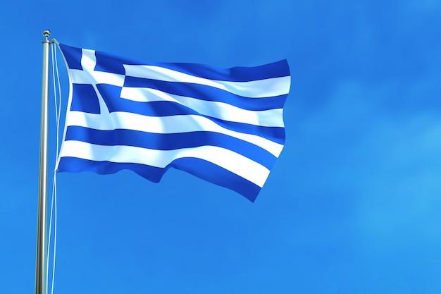 Bandeira da grécia no fundo do céu azul