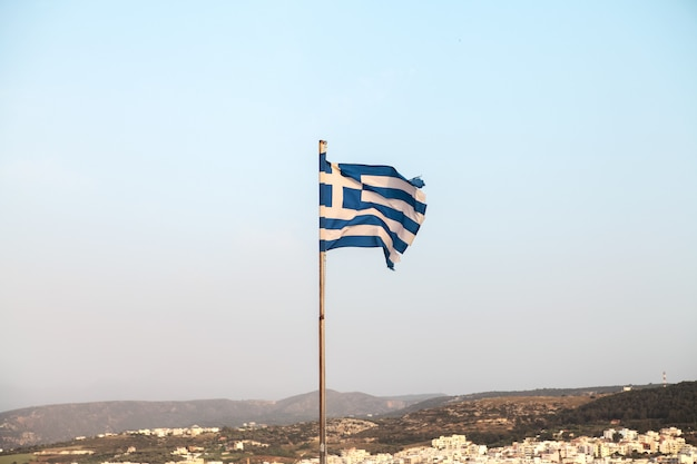 Bandeira da grécia. retimno, creta.