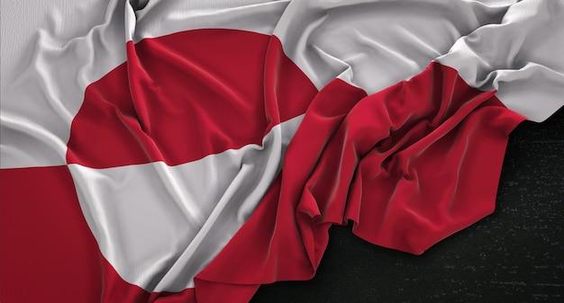 Bandeira da gronelândia enrugada no fundo escuro 3d render