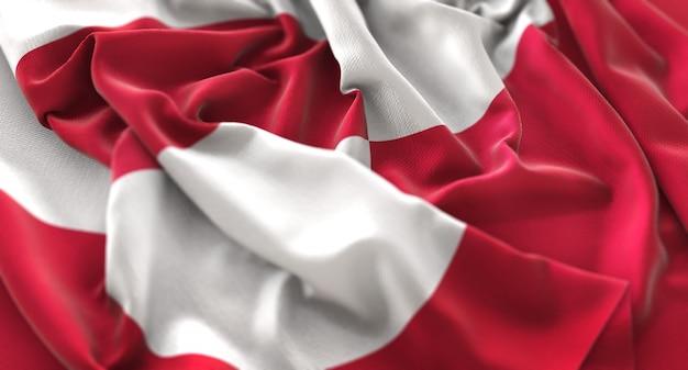 Bandeira da gronelândia ruffled beautifully waving macro close-up shot
