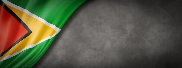 Bandeira da guiana em banner de parede de concreto