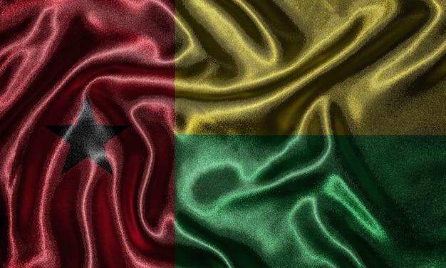 Bandeira da guiné-bissau - bandeira de tecido do país da guiné-bissau, fundo da bandeira de ondulação.