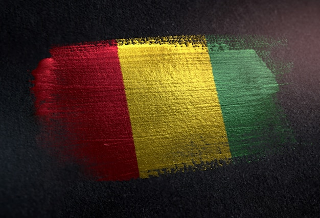 Bandeira da guiné feita de tinta de pincel metálico na parede escura de grunge
