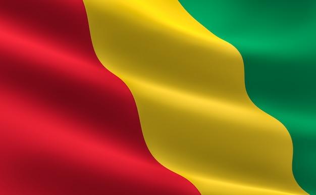 Bandeira da guiné. ilustração 3d da ondulação da bandeira da guiné.