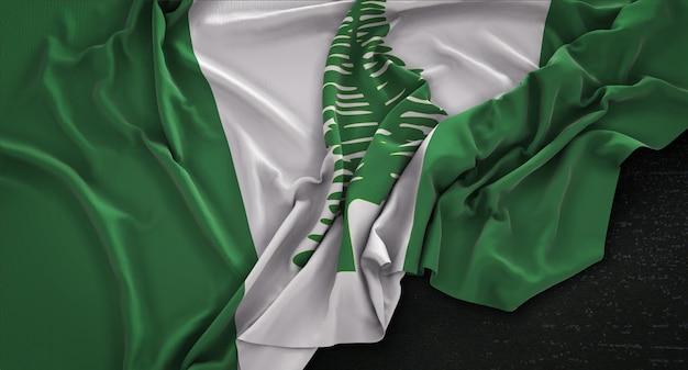 Bandeira da ilha de norfolk enrugada no fundo escuro 3d render