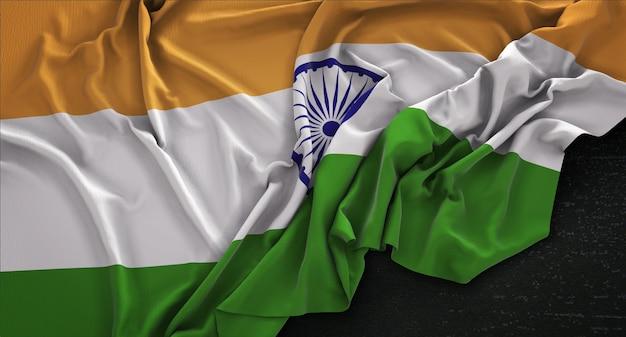 Bandeira da índia enrugada no fundo escuro 3d render