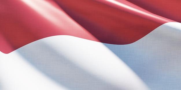 Bandeira da indonésia acenando de forma simples, close-up, foto premium
