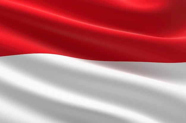 Bandeira da indonésia. ilustração 3d da bandeira indonésia acenando.